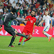 Turkey's Arda Turan (C) during their UEFA Euro 2016 qualification Group A soccer match Turkey betwen Czech Republic at Sukru Saracoglu stadium in Istanbul October 10, 2014. Photo by Aykut AKICI/TURKPIX