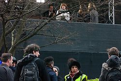 London, UK. 9th January, 2019. Sky News presenter Kay Burley observes activists from pro-Brexit group Yellow Vests UK protesting alongside College Green on the first day of the debate in the House of Commons on Prime Minister Theresa May's proposed Brexit withdrawal agreement. Some of the activists taunted her and Sky News during the broadcasting of her show as they had on previous occasions.