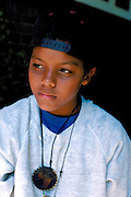 Exchange student age 13 from Mali Africa lost in thought.  St Paul Minnesota USA