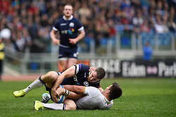 March 17, 2018 - Rome, Italy - Tommy Seymour of Scotland is challenged by Tommaso Allan of Italy during the NatWest 6 Nations Championship match between Italy and Scotland at Stadio Olimpico, Rome, Italy on 17 March 2018. (Credit Image: © Giuseppe Maffia/NurPhoto via ZUMA Press)