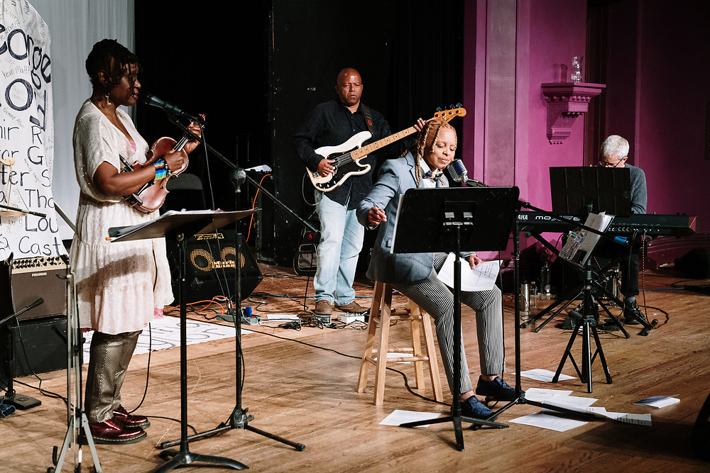 POUGHKEEPSIE, NY - APRIL 24: Artists and poets perform at PoughETRY Fest 2021 at Cunneen-Hackett Theater on April 24, 2021 in Poughkeepsie, New York. (PHOTO CREDIT: EricMTownsend.com)