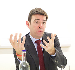 Andy Burnham MP and Luciana Berger MP speech to launch Labour's public health policy at Demos, London, Great Britain <br /> 15th January 2015 <br /> <br /> Andy Burnham MP <br /> shadow Labour Health Minister <br /> <br /> Luciana Berger MP <br /> <br /> <br /> <br /> Photograph by Elliott Franks <br /> Image licensed to Elliott Franks Photography Services