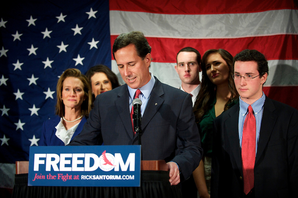 Rick Santorum announces he is dropping out of the presidential race during a press conference in Gettysburg, Pennsylvania April 10, 2012.