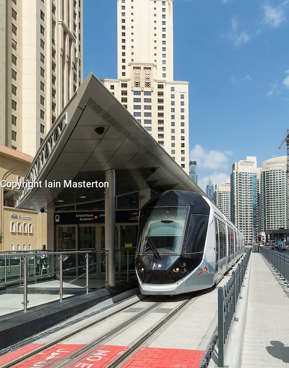 New Dubai tram at station in Marina district of New Dubai in United Arab Emirates