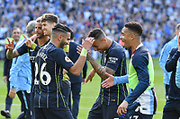 BRIGHTON, ENGLAND - MAY 12:  Riyad Mahrez (26) of Manchester City celebrates winning the Premier League title at full time with his team mates during the Premier League match between Brighton & Hove Albion and Manchester City at American Express Community Stadium on May 12, 2019 in Brighton, United Kingdom. (MB Media)