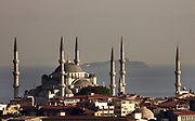Blue Mosque<br /> The most famous mosque of Istanbul, Sultanahmet Camii was built for Ahmet I buy the architect Mehmet Aga in 1616.<br /> Turkey, August 2006<br /> <br /> <br /> Photo Antonietta Baldassarre Inside