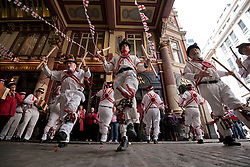 © Licensed to London News Pictures. 23/04/2015. <br /> LONDON, UK. Londoners celebrate Saint George's Day today in Leadenhall market with performances from morris dancers, London, Thursday 23 April 2015. Photo credit : Hannah McKay/LNP