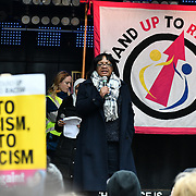 Speaker Diane Abbott rally of a UN Anti-Racism Day Demonstration and march of  the horrific Islamophobic terrorist attack on a mosque in Christchurch, New Zealand, that has left 49 dead on 16 March 2019, opposite Downing Street, London, UK.