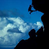 Mike Graber (MR) ascends a rope in the Buttermilk Rocks, below the eastern Sierra Nevada near Bishop, California.