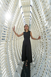 © Licensed to London News Pictures. 03/09/2018. London, UK. Design engineer Nassia Inglessis with Studio INI installation titled ΑΝΥΠΑΚΟΗ is representing the Turkey Pavillion at the London Design Biennale 2018. The  event will see some of the world's most exciting and ambitious designers, innovators and curators gather to show how design impacts our very being and every aspect of our lives.Photo credit: Ray Tang/LNP