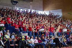 Supporters of Sentjur during basketball match between KK Tajfun and KK Rogaska in 4th Round of Final of Slovenian National Basketball Championship 2014/15, on May 28, 2015 in OS Hrusevec, Sentjur pri Celju, Slovenia. Photo by Vid Ponikvar / Sportida