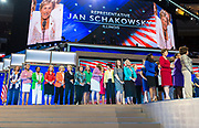 Congresswomen from across the US grace the stage whilst Congresswoman Jan Schakowsky rallies the audience
