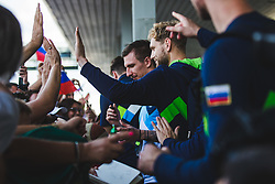 Jaka Blazic with fans during arrival of Slovenian national team from Tokio 2020 Olympic games, 8. August 2021, Airport Jozeta Pucnika, Ljubljana, Slovenia. Photo by Grega Valancic