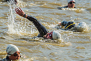 The swim (the first event) - Competitors enjoy the warm sunny conditions while participating in the Hever castle Triathlon.