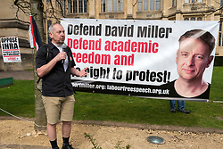© Licensed to London News Pictures;31/03/2021; Bristol, UK. Dr. ELDIN FAHMY speaks at a coalition of Labour Left organisations including Labour Campaign for Free Speech and speakers hold a lobby in defence of academic freedom and Professor David Miller outside Bristol University. Around 50 protesters assembled at 2pm outside the Wills Memorial Building to express solidarity and support for Professor Miller who has been suspended by the University of Bristol over allegations of anti-semitism. Speakers included Dr. Eldin Fahmy, Senior Lecturer of Policy Studies at University of Bristol, Sandy Kennedy, a former graduate from Bristol University, who has worked in an Israeli Kibbutz, and there were messages of support from Roger Waters, Alexei Sayle, Chris Williamson MP, Ken Loach, and Jonathan Cook. Photo credit: Simon Chapman/LNP.