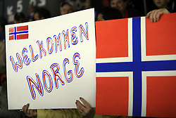Norwegian fans at ice-hockey match Norway vs Finland at Preliminary Round (group C) of IIHF WC 2008 in Halifax, on May 05, 2008 in Metro Center, Halifax, Nova Scotia, Canada. (Photo by Vid Ponikvar / Sportal Images)