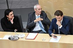 "27.05.2019, Hofburg, Wien, AUT, Sondersitzung des Nationalrates, Sitzung des Nationalrates aufgrund des Misstrauensantrags der Liste JETZT, FPOE und SPOE gegen Bundeskanzler Sebastian Kurz (OeVP) und die Bundesregierung, im Bild v.l. Elisabeth Köstinger (ÖVP), Eckart Ratz, Sebastian Kurz (ÖVP) // during special meeting of the National Council of austria due to the topic ""motion of censure against the federal chancellor Sebastian Kurz (OeVP) and the federal government"" at the Hofburg in Wien, Australia on 2019/05/27. EXPA Pictures © 2019, PhotoCredit: EXPA/ Lukas Huter"
