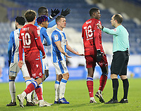 Huddersfield Town players appeal to Referee Jeremy Simpson for a handball decision after Reading's Michael Morrison appeared to block a strike from Huddersfield Town's Jonathan Hogg with his arm<br /> <br /> Photographer Rich Linley/CameraSport<br /> <br /> The EFL Sky Bet Championship - Saturday 2nd January 2021 - Huddersfield Town v Reading - The John Smith's Stadium - Huddersfield<br /> <br /> World Copyright © 2020 CameraSport. All rights reserved. 43 Linden Ave. Countesthorpe. Leicester. England. LE8 5PG - Tel: +44 (0) 116 277 4147 - admin@camerasport.com - www.camerasport.com