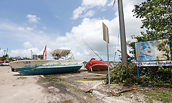 A view of a boats washed ashore at Watson Island in the Hurricane Irma aftermath on Monday, September 11, 2017 in Miami. Photo by David Santiago/Miami Herald/TNS/ABACAPRESS.COM