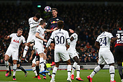 Forward Patrik Schick Of Leipzig heads the ball during the UEFA Champions League match between Tottenham Hotspur and RB Leipzig, at The Tottenham Hotspur Stadium, Wednesday, Feb. 19, 2020, in London, United Kingdom. (Mitchell Gunn/Image of Sport)
