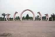 Gigantic concrete gate in Vinh, Vietnam, Asia