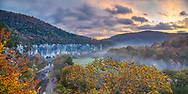 Sunrise over Steel Creek in the Buffalo River Valley with a trace of early morning fog still lingering along the edge of the trees. To arrive at this overlook for sunrise I had to leave my tent while it was still dark.  My only light source was my trusty headlamp. It is a challenging task but worth the effort.