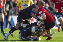 December 9, 2018 - Limerick, Ireland - Dave Kilcoyne of Munster tackled by Jody Jenneker of Castres during the Heineken Champions Cup Round 3 match between Munster Rugby and Castres Qlympique at Thomond Park Stadium in Limerick, Ireland on December 9, 2018  (Credit Image: © Andrew Surma/NurPhoto via ZUMA Press)