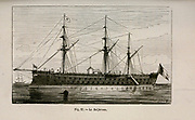 19th century Woodcut print on paper of the French battleship le Solferino from L'art Naval by Leon Renard, Published in 1881