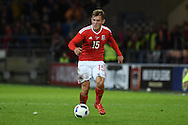 George Williams of Wales in action. Vauxhall International football friendly, Wales v The Netherlands at the Cardiff city stadium in Cardiff, South Wales on Friday 13th November 2015. pic by Andrew Orchard, Andrew Orchard sports photography.
