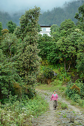 Woman walking down the hill, Nepal
