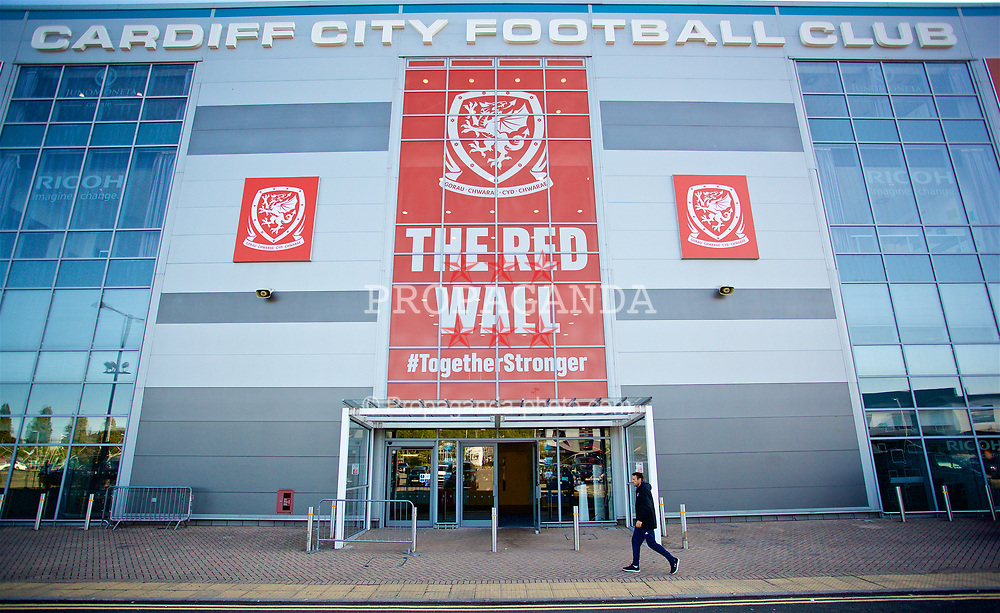 CARDIFF, WALES - Wednesday, September 5, 2018: Red Wall branding outside the Cardiff City Stadium ahead of the UEFA Nations League Group Stage League B Group 4 match between Wales and Republic of Ireland. (Pic by David Rawcliffe/Propaganda)