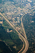 Aerial photo over the freeway interstate split exchange between highways I-355 and I-88, near Chicago, IL