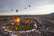 Albuquerque Balloon Fiesta, New Mexico. Mass assencion on Sunday morning at dawn of 500 hot air balloons.