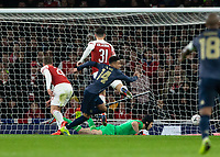 Football - 2018 / 2019 FA Cup - Fourth Round: Arsenal vs. Manchester United <br /> <br /> Petr Cech (Arsenal FC) watches the ball beat him as Jesse Lingard (Manchester United) gives his team a two goal lead <br /> at The Emirates Stadium.<br /> <br /> COLORSPORT/DANIEL BEARHAM