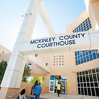 091713       Brian Leddy<br /> McKinley County Courthouse employees enter the building Tuesday morning after being evacuated due to reports of a gas leak. No leak was found and employees were evacuated for about an hour.