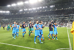 April 22, 2018 - Torino, Piemonte, Italy - In the picture: the exultation of the players and supporters of the naples at the torino stadium.22 April 2018 - Turin, Italy - final match between F.C. Juneventu and SSC Napoli, at the Allianz Stadium in Turin, which is awarded the Scudetto in Serie A in Italy..Napoli wins 1-0. (Credit Image: © Fabio Sasso/Pacific Press via ZUMA Wire)