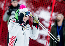 """Janica Kostelic prior to the 1st Run of FIS Alpine Ski World Cup 2017/18 Ladies' Slalom race named """"Snow Queen Trophy 2018"""", on January 3, 2018 in Course Crveni Spust at Sljeme hill, Zagreb, Croatia. Photo by Vid Ponikvar / Sportida"""