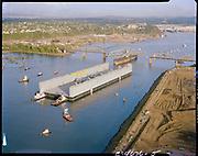 Ackroyd C04626-05. Willamette Tug & Barge Co. Drydock 4 passing through SP&S railroad bridge on Willamette at St. Johns. September 21, 1978