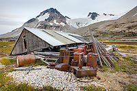 Derelict mining cabin and discarded equipment at Athelney Pass, in the distance is Mount Ethelweard 2819 m (9249 ft), Coast Range British Columbia Canada