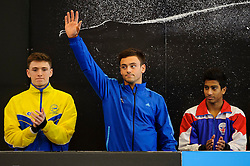 Tom Daley of Plymouth Diving waves to the crowd before the Mens 10m Platform Preliminary - Photo mandatory by-line: Rogan Thomson/JMP - 07966 386802 - 02/02/2014 - SPORT - DIVING - Southend Swimming & Diving Centre, Southend-on-Sea - British Gas Diving National Cup 2014 Day 3.