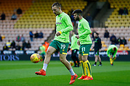 Norwich City midfielder Tom Trybull (19) warming up ahead of the EFL Sky Bet Championship match between Norwich City and Barnsley at Carrow Road, Norwich, England on 18 November 2017. Photo by Phil Chaplin.