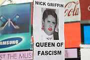 The face of BNP leader Nick Griffin in a parody as the Queen of Fascism. Pride London gay and lesbian parade through central London. Pride London (founded in 2004) aims to promote equality and diversity through all of its campaigns. The Pride London festival uses theatre, music, debate, art and entertainment to raise awareness of discrimination and the issues and difficulties affecting the lives of lesbian gay bisexual and transgender people around the world. The annual parade is an explosion of Pride in the heart of the capital, attracting over 1,000,000 people in a celebration of diversity.