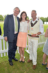 Left to right, WILLIAM & LADY LAURA CASH and MOWBRAY JACKSON co-founder of Flannels for Heroes at the Flannels for Heroes Cricket tournament in association with Dockers in aid of the charities Walking With The Wounded, On Course Foundation and Combat Stress held at Burton Court, London on 20th June 2014.