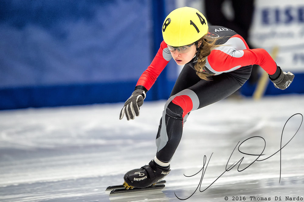 March 20, 2016 - Verona, WI - Abigail Sorenson, skater number 148 competes in US Speedskating Short Track Age Group Nationals and AmCup Final held at the Verona Ice Arena.