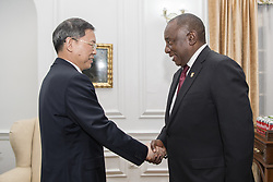 PRETORIA, May 26, 2019  Chinese President Xi Jinping's special envoy Hao Mingjin (L), also vice chairman of the Standing Committee of the National People's Congress of China and chairman of the Central Committee of the China National Democratic Construction Association, meets with newly-elected South African President Cyril Ramaphosa in Pretoria, South Africa, May 25, 2019. Hao Mingjin attended the inauguration ceremony of South African President Cyril Ramaphosa here on Saturday. (Credit Image: © Xinhua via ZUMA Wire)