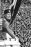 Benito Mussolini (1883-1945) 'Il Duce', Italian facist dictator, addressing a rally.
