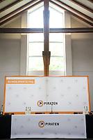 DEU, Deutschland, Germany, Neumarkt i. d. Oberpfalz, 10.05.2013:<br />Bundesparteitag der Piratenpartei Deutschland. Hier im Bild das für die Pressekonferenzen vorgesehene Podium im Presseraum.