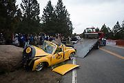 June 30, 2013 - Pikes Peak, Colorado.  Wreckage of Jonn Baird's Pikes Peak open car during the 91st running of the Pikes Peak Hill Climb.