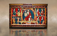The Romanesque Altar Front of Baltarga<br /> <br /> Around 1200, Tempera on wood with metalic ornamention from the church of Saint Andreu (Andrew) of Baltarga, Catalonia, Spain.<br /> <br /> National Art Museum of Catalonia, Barcelona. MNAC 15804<br /> <br /> The Romanesque paintings depict scenes from the life and the martyrdom of St. Andrew. At its centre is a theophany with Christ Pantocrator (Majesty) surrounded by a Mandorla around which is a tetramorph with the symbols of the four evangelists, St Matthew the man, St Mark the lion, St Luke the ox, and John the eagle.. Eastern influences are especially evident in this magnificent altar frontal, which has an elegant palette of colours, with sophisticated soft flesh tones. The work seems most  likely to have come from the workshop of  highly skilled Greek painters,  which was installed in the vicinity of the monastery of Sant Marti Canigo and signed at least one of their works (now defunct) as Magister Alexander. .<br /> <br /> If you prefer you can also buy from our ALAMY PHOTO LIBRARY  Collection visit : https://www.alamy.com/portfolio/paul-williams-funkystock/romanesque-art-antiquities.html<br /> Type -     MNAC     - into the LOWER SEARCH WITHIN GALLERY box. Refine search by adding background colour, place, subject etc<br /> <br /> Visit our ROMANESQUE ART PHOTO COLLECTION for more   photos  to download or buy as prints https://funkystock.photoshelter.com/gallery-collection/Medieval-Romanesque-Art-Antiquities-Historic-Sites-Pictures-Images-of/C0000uYGQT94tY_Y