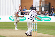 Liam Norwell of Warwickshire bowling during the Specsavers County Champ Div 1 match between Yorkshire County Cricket Club and Warwickshire County Cricket Club at York Cricket Club, York, United Kingdom on 17 June 2019.